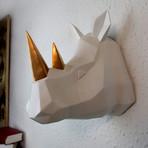Geometric Rhino Head Wall Art (Black + Gold)
