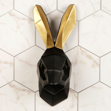 Rabbit Wall Art (Black + Gold)