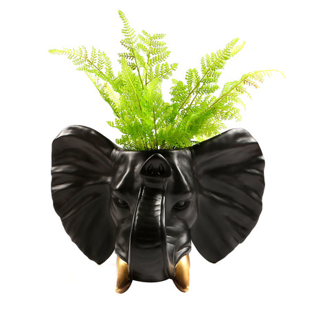 2-in-1 Hanging Plant Pot // Elephant (Black + Gold)