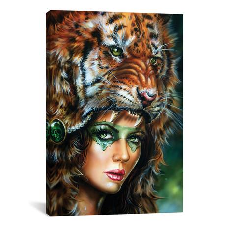 "Tiger Huntress II // Derek Turcotte (12""W x 18""H x 0.75""D)"