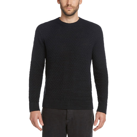 Herringbone Crew Sweater // Black (S)