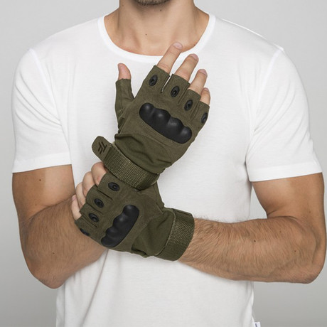 Thermoforming Operation Half Finger Gloves // Khaki (M)