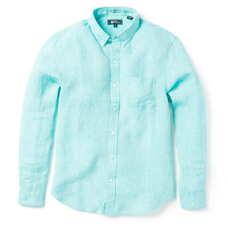 Linen Long Sleeve Tailored // Blue Turquoise (XS)
