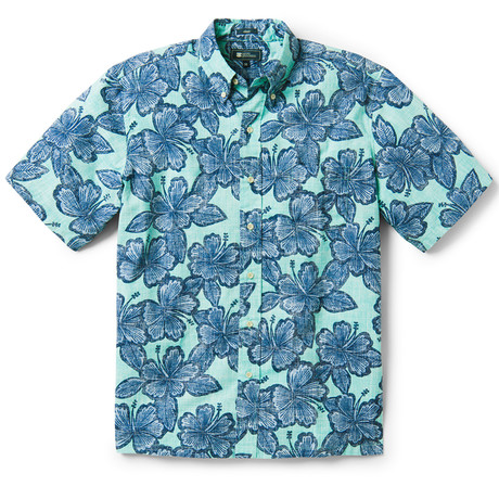 Hibiscus Orchard Button Front // Blue Turquoise (XS)