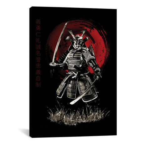 """Bushido Samurai (Bushido Virtues Kanji) (12""""W x 18""""H x 0.75""""D)"""