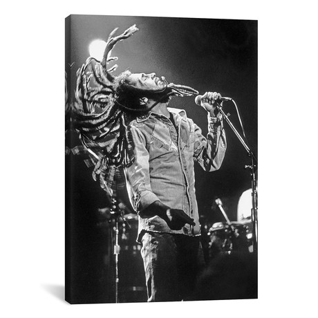 """Bob Marley in Reggae concert at Roxy, Los Angeles on May 26, 1976 // Rue Des Archives (12""""W x 18""""H x 0.75""""D)"""