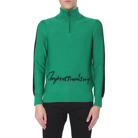 """Off-White // """"Impressionism"""" Virgin Wool Sweater // Green (S)"""