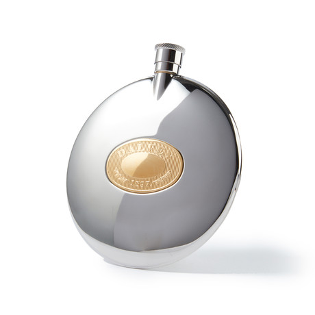 Engravable Dalvey Classic Stainless Steel Flask with Gold Badge