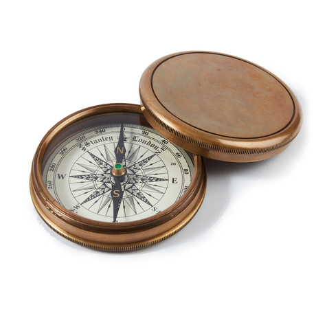 Engravable Large Antique Brass Desk Compass