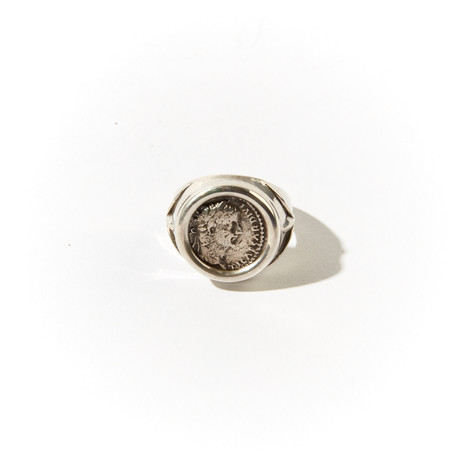 "Tiberius Caesar, Biblical ""Tribute Penny"" // Silver Denarius In Men'S Ring"
