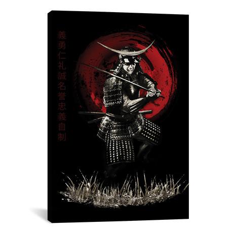 "Bushido Samurai Defending (12""W x 18""H x 0.75""D)"