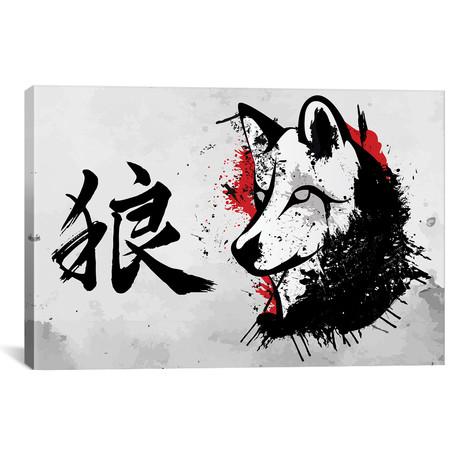 "Japanese Wolf Okami (18""W x 12""H x 0.75""D)"