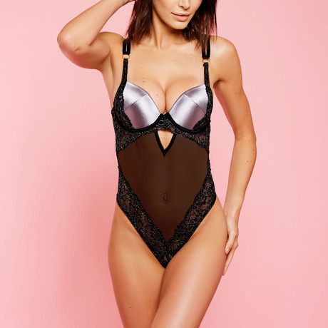 Satin + Lace + Mesh Strappy Teddy // Gray, Black (S)