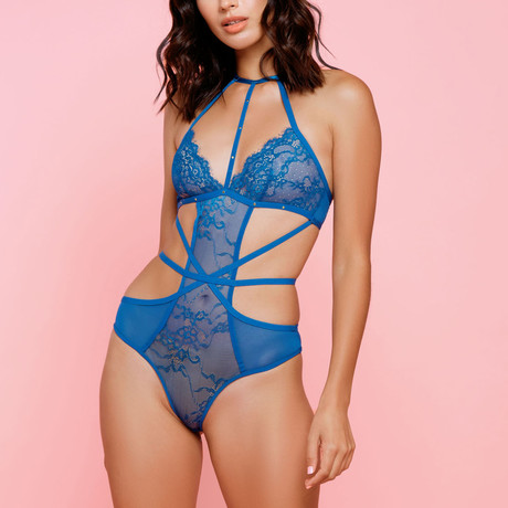 Halter Studded Strappy Teddy // Blue (S)