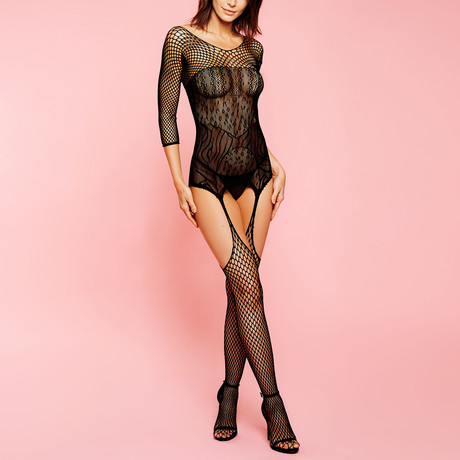 3/4 Sleeve Diamond Net Bodystocking // Black