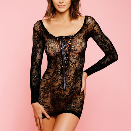 Long Sleeve Hosiery Lace Chemise // Black