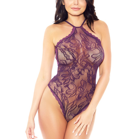 Halter Teddy + Lace Trim Details // Purple