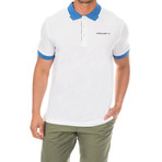 Golf Polo // White + Blue (Medium)