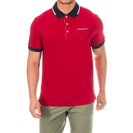 Golf Polo // Red + Navy Blue (Small)