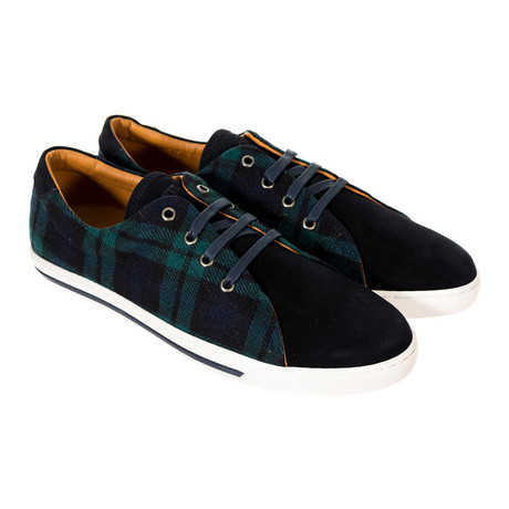 Plaid Sneakers // Green + Navy (40)