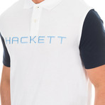 Logo Golf Polo // White + Blue Marine (Small)