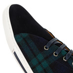 Plaid Sneakers // Green + Navy (45)