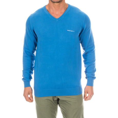 V-Neck Logo Sweater // Blue (Small)