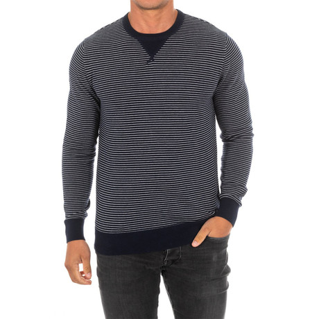 Striped Sweater // Navy + White (Small)