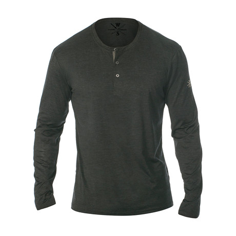 Mako Long Sleeve Fitness Tech Henley // Black (S)