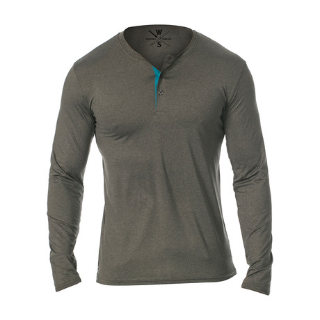 Mako Long Sleeve Fitness Tech Henley // Charcoal (S)