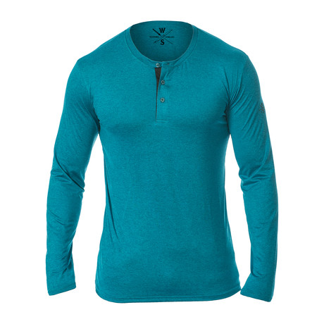 Mako Long Sleeve Fitness Tech Henley // Ocean Blue (S)