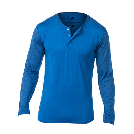 Cara Long Sleeve Fitness Tech Henley // Blue (S)