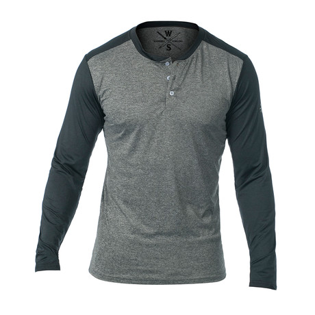 Cara Long Sleeve Fitness Tech Henley // Gray (S)
