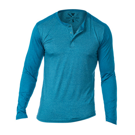 Cara Long Sleeve Fitness Tech Henley // Turquoise (S)