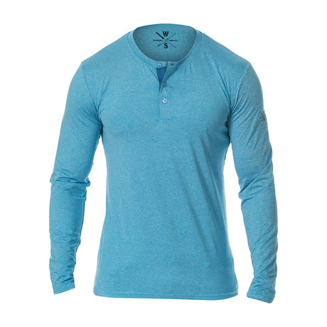 Mako Long Sleeve Fitness Tech Henley // Light Blue (S)
