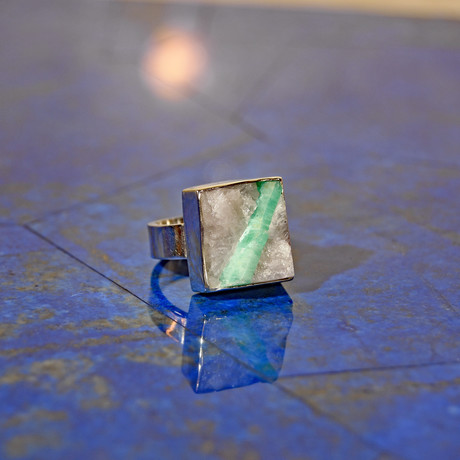 Emerald in Quartz Square Cabochon // Sterling Silver Handcrafted Ring // Size 6
