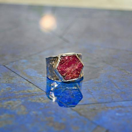Ruby Natural Crystal // Sterling Silver Handcrafted Ring // Size 8
