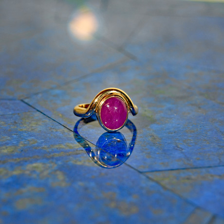 Ruby Oval Cabochon // 14K Handcrafted Gemstone Ring // Size 7.25