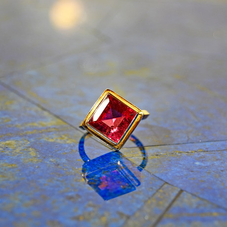 Square Faceted Rubellite // 14K Handcrafted Gemstone Ring // Size 8
