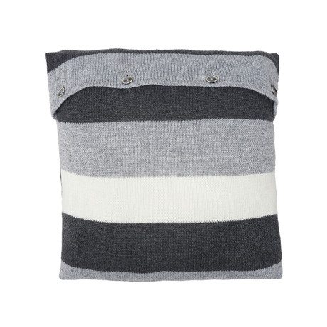 Pillow Cover // Colorblock Knit (Medium Gray)