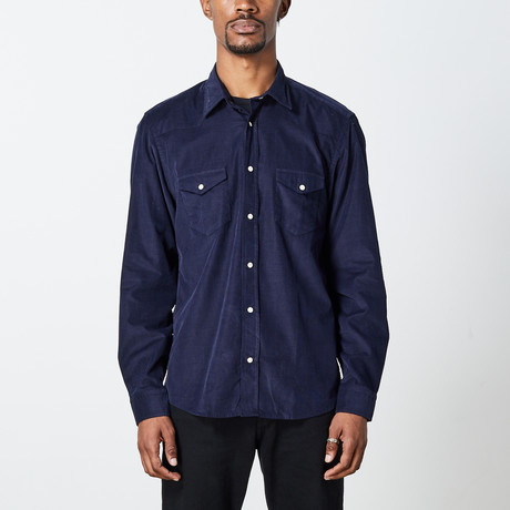 Men's Cord Woven Top // Navy (S)