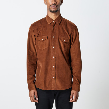 Men's Cord Woven Top // Brown (S)