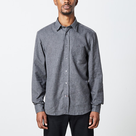 Men's Solid Woven Top // Gray (S)