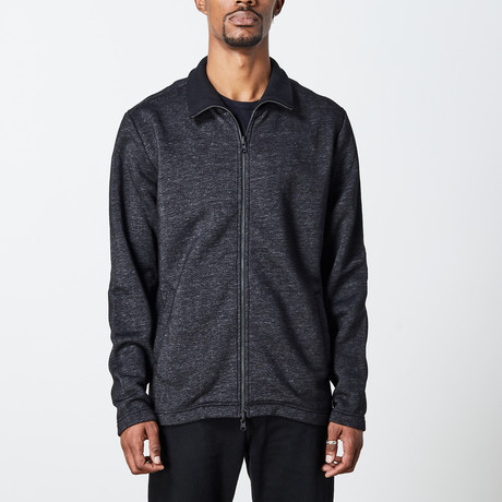 Men's Mock Zip Up // Black Melange (S)