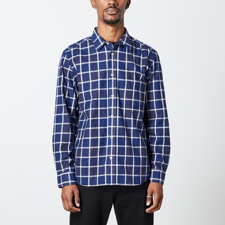 Men's Indigo Woven Top // Blue + White (S)