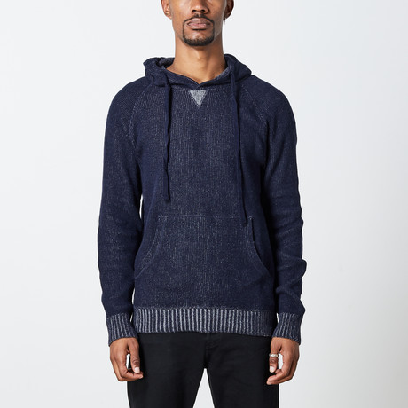 Men's Hoodie Wool Knit // Navy (S)