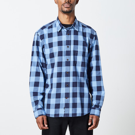 Men's Indigo Woven Top // Dark Blue + Light Blue (S)