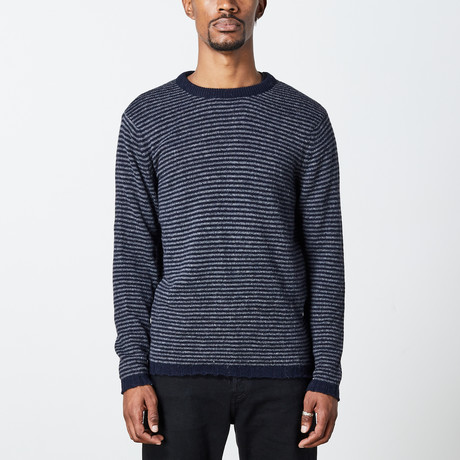 Men's Alpaca Crewneck // Navy + Dark Gray (S)