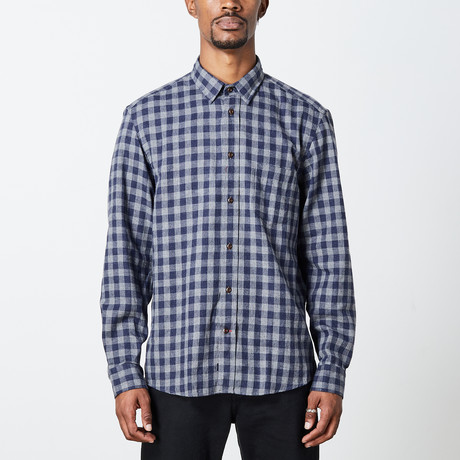 Men's Long Sleeve Plaid Woven Top // Dark Blue + Light Blue (S)