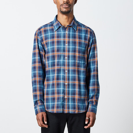 Men's Long Sleeve Plaid Woven Top // Blue + Orange (S)
